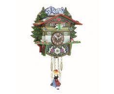 """ISDD Kuckulino Black Forest TU 2024 PQ - Reloj en miniatura con movimiento de cuarzo y llamada del cucú, diseño """"Casa suiza"""" multicolor, batería incluida"""