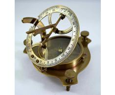 Réplica de brújula y reloj solar antiguo, 10,1 cm, latón macizo, caja de madera