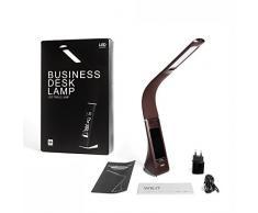 WILIT® U2 5W LED Lámpara de mesa moderna de negocios regulable con reloj despertador, calendario, indicador de temperatura y brazo tipo cuello de cisne, café