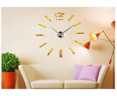 FEITONG Reloj pared de DIY 3D de lujo Decoración de Bell fresco Espejo pegatinas Reloj (oro)