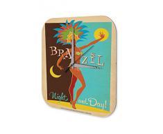 Reloj De Pared Gira Mundial Marke Brasil Carnaval de dÌa y de noche vistiÛ la mujer Plexiglas Imprimido 25x25 cm