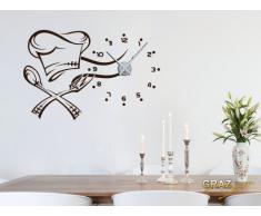 Vinilo de pared: Decoración de pared con reloj cocinero Para la cocina (reloj=Plata cepillada//Color=030 Rojo oscuro)