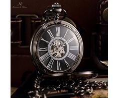 KS Reloj de Bolsillo, Mecánico, Analógico, Caja Negra KSP035