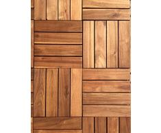 Click-Deck - Láminas de suelo de madera noble de acacia (18 unidades) 4 listones, ideal para patio, jardín, balcón, jacuzzi. Azulejos de 30 cm cuadrados.