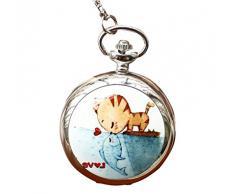Infinite U Gato y Pez Beso/Amor Grande Reloj de Bolsillo Cuarzo con Espejo Números Arábigos Plateado