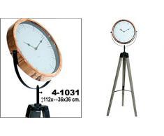 DonRegaloWeb - Reloj de metal (color cobre) de pie con trípode de madera