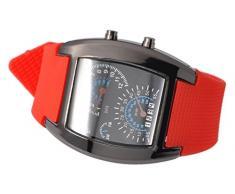 DSstyles azul y blanco de luz LED RPM Turbo velocímetro Aviation Poilet digital binario reloj de pulsera reloj deportivo - Rojo