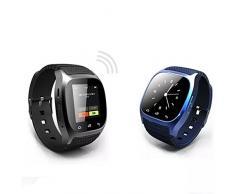 TopTops® Reloj LED inteligente RWATCH M26 Bluetooth con Dial / Contestación de llamadas / SMS Recordando / Reproductor de música / Anti-perdida / pasómetro / termómetro para Samsung / HTC + Más - NEGRO