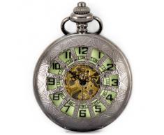 Alienwork Retro Reloj mecánico de bolsillo esqueleto remonte Metal verde negro WDG005-02