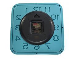 Reloj de pared cuadrado de cuarzo, grande, color azul claro, movimiento deslizante (sin tictac), 33 cm