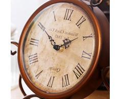 WINOMO Reloj del escritorio mesa retro reloj hierro antiguo arte para casa servicio gabinete de decoración (marrón)