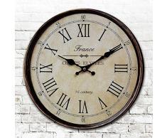"""LOVE(TM)14 pulgadas de madera Reloj Frech Estilo elegante lamentable retro del numero romano dormitorio de madera de la decoracion del reloj de pared Cocina Sala (14 """", B)"""