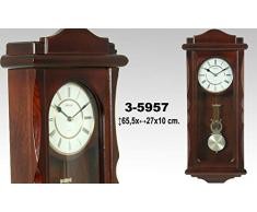 DonRegaloWeb - Reloj de cocina - Reloj de pared de madera color nogal con péndulo