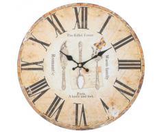 Decoración Para El Hogar Hecho De MDF Estilo Vintage Shabby Chic Reloj Antiguo De Pared Con Las Manecillas Decorativas-Escena Cubiertos