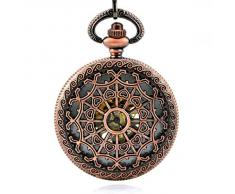 Stayoung Steampunk Vintage Rojo Números Arábigos Cuerda Manual Reloj de Bolsillo Mecánico Colgante Cadena Atrapasueños Alta Calidad