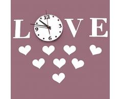 Bluelover AMOR gran espejo pared reloj DIY colgantes de acrílico reloj soporte reloj pared decoración
