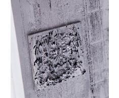 Lohoart R-183-2 - Reloj sobre lienzo pintado artesanal, reloj de pared rectangular, color Plata, medidas: 40 X 80 cm