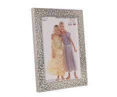 Inov9 - Marco para fotos (madera de pino, 20,3 x 15,2 cm), diseño de mosaico, color plateado