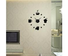 SODIAL(R) Reloj de pared moderno DIY taza grande de cafe etiqueta silencio adhesivo reloj - Negro