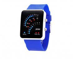 ufengke® exquisita binario impermeable llevó reloj de pulsera electrónico,rectángulo de línea de silicona reloj de pulsera muñeca banda,azul