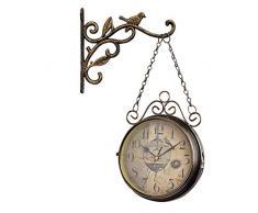 Lucky Family Estación De Reloj De Pared De Doble Cara Retro Dial con Péndulo De Fijación del Vástago, para Jardín De Interior Y Exterior Cocina Patio Sala De Estar