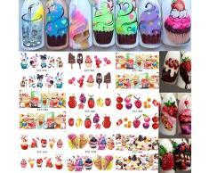 AIUIN 18 Piezas Pegatina de Uñas Colorido Pastel de Helado de Fruta Guías de Clavar Tip Pegatinas Conjunto con Uñas de Manicura