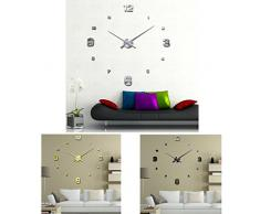 FEITONG Lujo 3D de bricolaje grande de la pared del reloj La superficie del espejo pegatina Home Office Decor (Plata)
