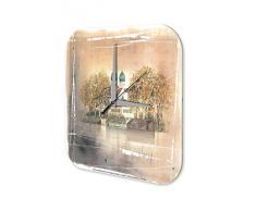 Reloj De Pared Gira Mundial Marke caÌda Iglesia Plexiglas Imprimido 25x25 cm