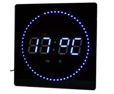 LED Reloj Azul Redonda Temperatura Despertador Pantalla fecha Montaje en la pared Reloj de estudio Reloj digital