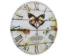 Decoración del hogar estilo vintage Shabby Chic Reloj de pared hecho de MDF con la escena de mariposa y del jardín botánico con números romanos