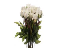 Closer2Nature 12F019XW - Ramo de 12 rosas artificiales, 60 cm, color blanco