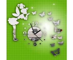 Malloom® moderno Hada de la mariposa espejo DIY Reloj de pared Pegatina de pared Decoración del hogar