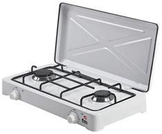 FM Calefacción HG-200 hobs - Placa (Mesa, Gas, Esmaltado, Giratorio, Frente, 58 cm) Color blanco