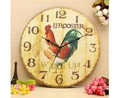 Bluelover Pared vintage reloj rústico de Zakka Retro arte cutre reloj casa oficina Cafe barrade madera decoración de la pared 30cm