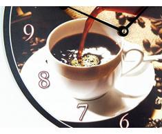 Reloj de pared cocina café negro