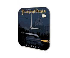 Reloj De Pared Gira Mundial Marke Transilvania tren castillo noche Plexiglas Imprimido 25x25 cm