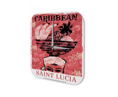 Reloj De Pared Gira Mundial Marke San Lucuia Caribe frutero en la cabeza Plexiglas Imprimido 25x25 cm
