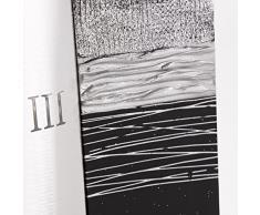 Lohoart R-963-1 - Reloj sobre lienzo pintado artesanal, reloj de pared rectangular, color Plata, medidas: 70 X 70 cm