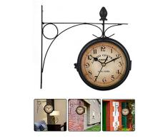 Wood.L Reloj De Pared Vintage De Doble Cara Reloj Colgante Pared De Estilo Retro para Decoración Sala De Estar Habitación Hotel Jardín Estación De Tren