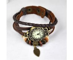 Gleader Reloj de Pulsera Cuarzo Banda de Cuero Estilo Antiguo para Chica Mujer - Cafe