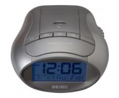 Seiko QHL023A - Reloj despertador con pantalla LCD, calendario y termómetro, color gris metálico