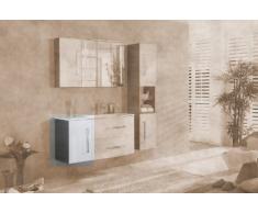 Lavabo de la parte inferior de armario de Lugano/edealmax con tope de la puerta a la izquierda de colour (frente): de colour blanco, el colour (cuerpo): de madera de pino-de colour gris oscuro