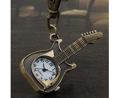 Skyllc® Colgante Llavero metal Modelo Guitarra Reloj 57 mm Bronce Nuevo