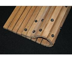 AsinoX TEK4H990 - Tarima de ducha y baño flexible, madera de teca