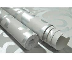 """QIHANG alta calidad de plata gris del damasco del Victorian en relieve textura del papel pintado de No tejido materiales 0.53m (20.8 """") * 10m(32.8 ') = 5.3㎡ (57sqfeet)"""