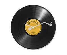 Balvi reloj de pared Greatest Hits! Imita un disco musical de vinilo El minutero es como la aguja de un reproductor de discos 30 cm de diámetro Diseño retro Gancho para pared incluido Plástico 30 x 30 x 3 cm