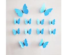 12PCs Rainbow Fox PVC Mariposa Pegatinas de Pared Revestimientos de Paredes (azul)