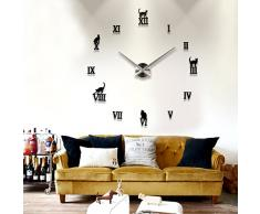Bluelover Bricolaje Pared Grande Reloj 3D Gato Lindo Espejo Reloj Etiqueta De La Pared-Negro
