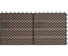 EVERFLOOR WPC marca Gartenfreude (= madera / mezcla de plástico) baldosas de patio perfil macizo marrón, 6 piezas, 60 x 30 cm (aprox. 0,96m2)