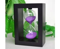 Zokey Lovely 60 Minutos Negro Madera Glass reloj de arena Timer (Purple)